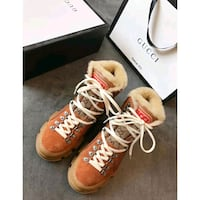 brown leather lace-up boots New York