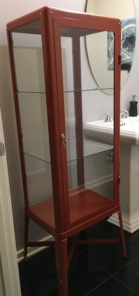 Brand New Ikea Fabrikor Red Brown Glass Case Display Cabinet