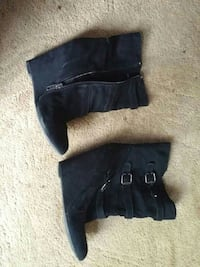 pair of black leather zipped wedge boots Guelph, N1E 3P1