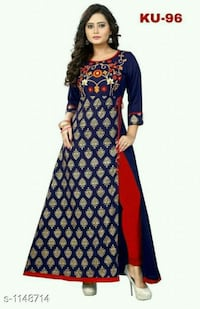 women's blue and red long sleeve dress