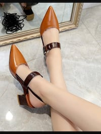 Brown leather open-toe ankle-strap heels Sunrise, 33313