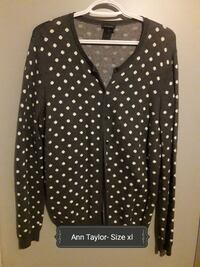 white and black polka-dot button-u cardigan Spruce Grove, T7X 1J5