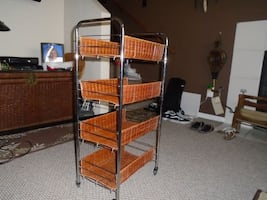 Wicker Cart 4 baskets on wheels for easy moving
