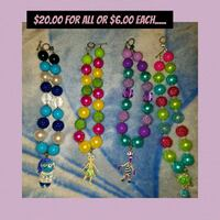 blue, green, and red beaded necklace