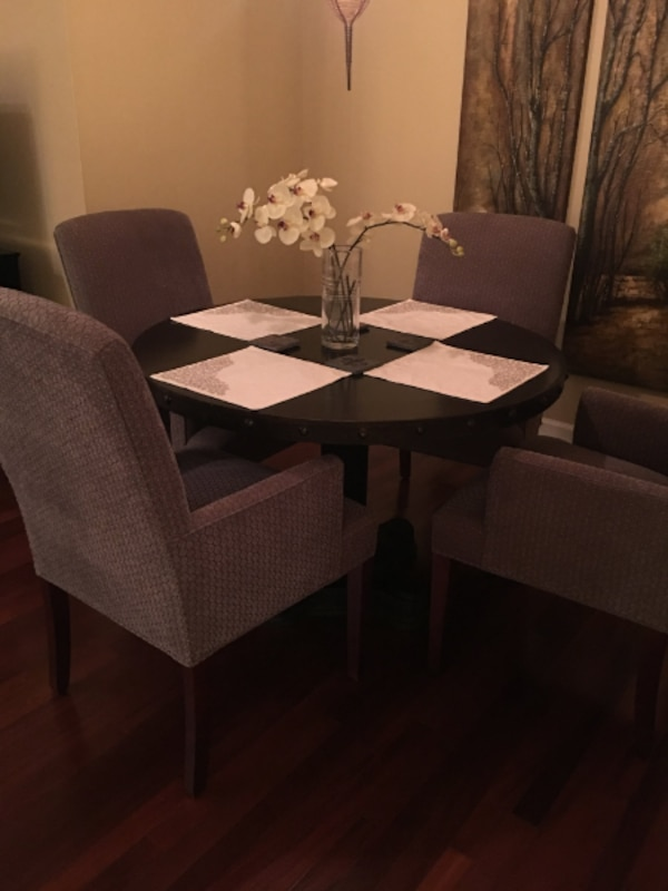 Used Round Iron Dining Table 4 Upholstered Arm Chairs For Sale In Atlanta