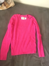 Cable-knitted pink scoop-neck sweater size medium  Hamilton