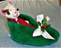 """PRICE REDUCED!!! 7"""" Annalee Doll,  Holiday  Slipper Mouse1993, Christmas Bally"""