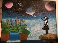 Banksy inspired canvas painting by me 16x20 Mission, V4S 0A2