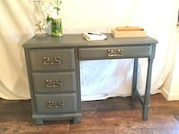 Antique - Solid Real Wood Writing Desk - Table 4 Drawers Brass Pull Montoursville, 17754