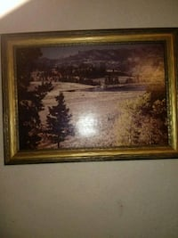 brown wooden framed painting of house Lubbock, 79423