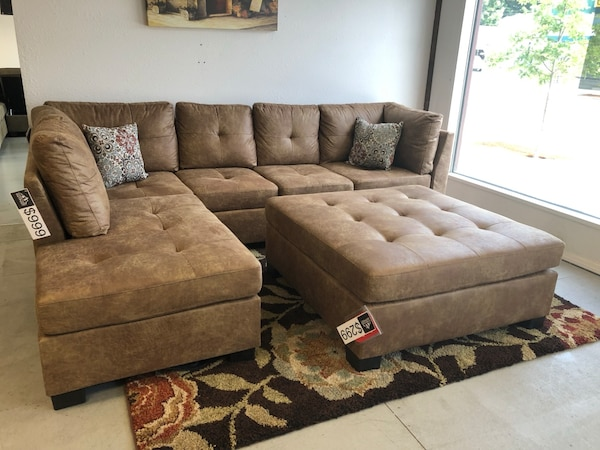 Swell Labor Day Sale Only Need 39 Down Golden Brown Microfiber Sectional Ottoman Sold Separately For 299 Cjindustries Chair Design For Home Cjindustriesco