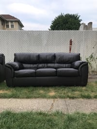$500 firm!!! Bobs black leather sofa and love seat. Less than 1 year old. Location Bogota, NJ New York