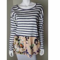 Anthropologie Postmark Striped and Floral Sweater Top (Size:Small) Calgary, T3P 1H4