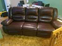 brown leather 3-seat recliner sofa Montréal, H1E 6R2