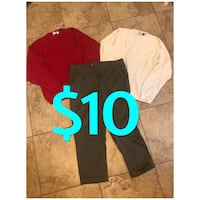 Men's large sweaters and size 36 pants