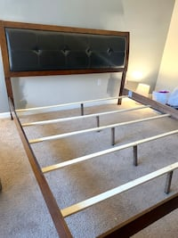 Wood Bed with Leather Headboard - KING (FULL SPLIT BOX SPRING +$149) Fairfax, 22033