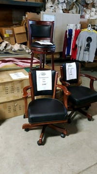 Sold wood leather game chair Mississauga, L4X 1R1