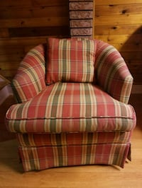 red and white plaid sofa chair Toronto, M6E 4W7