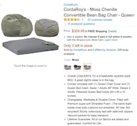 Cordaroy's Slate Chenille Convertible bean bag chair Prattville, 36066