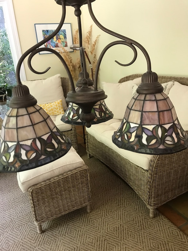 3 bulb Tiffany style chandelier, aged bronze