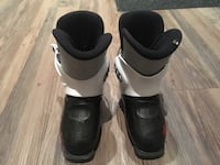 pair of black-and-white ski boots