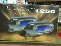 two blue-and-grey Optilux by Hella 1250 LED lamps box Woodbine, 21797