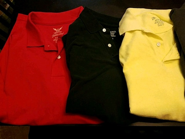 red, black, and yellow collared shirts