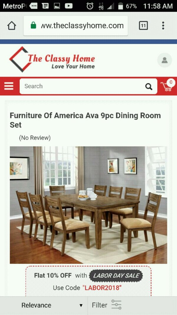 Used Furniture Of America Ava 9pc Dining Room Set For Sale In Jonesboro