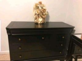 Black TV dresser (real wood) with brass knobs