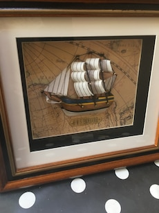 Brown HMS Endeavor ship painting