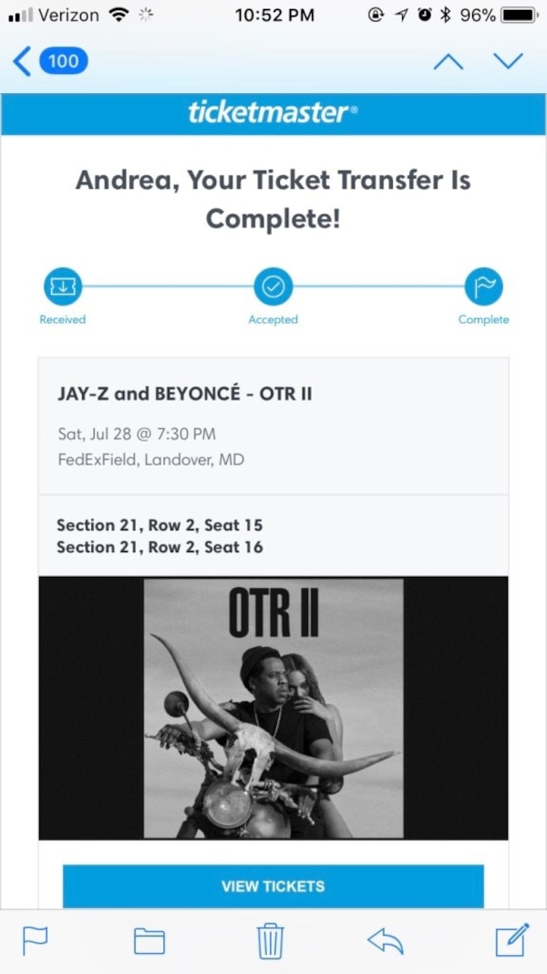 Beyoncé and Jay Z OTRII Tour tickets FedEx Field