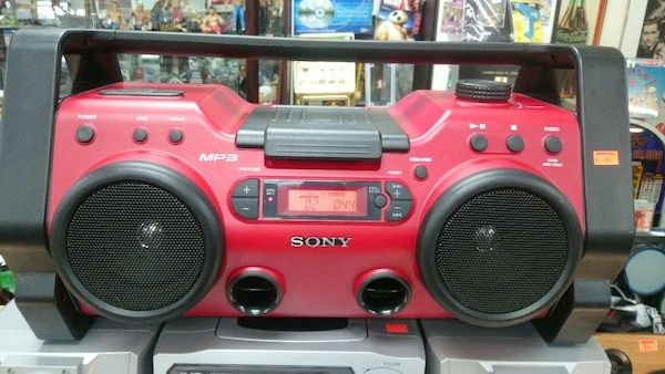red and black Sony boombox