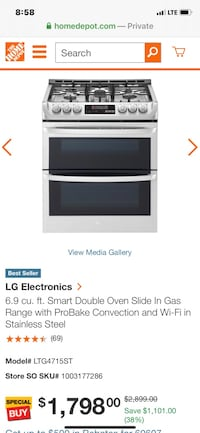 New LG Gas Range with WiFi Indianapolis, 46254