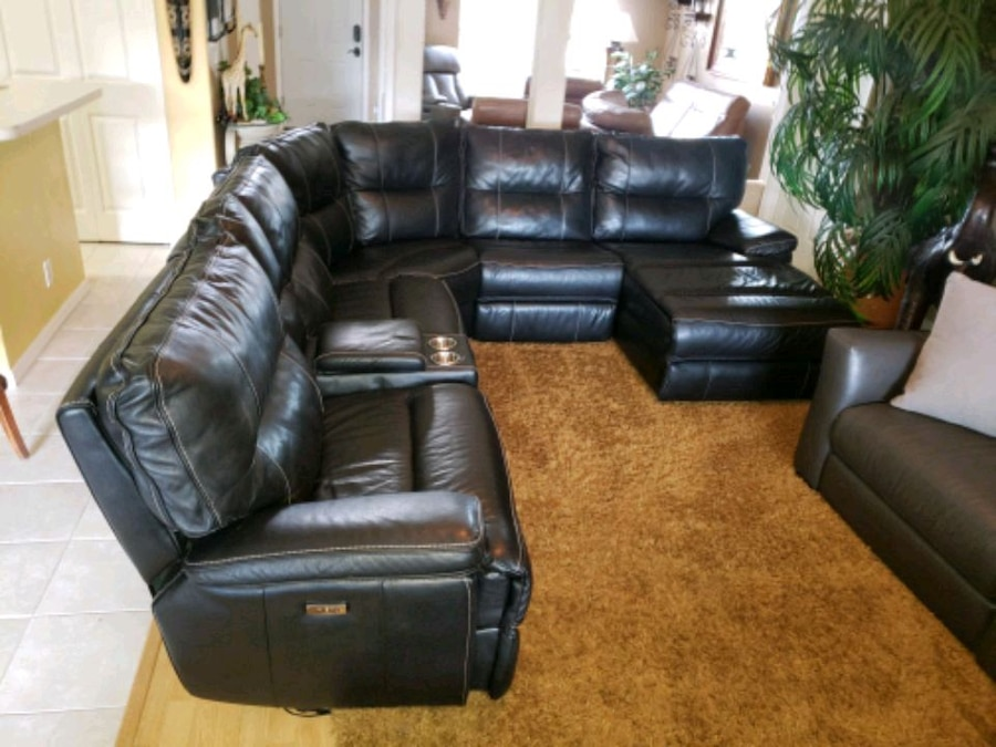 Photo Macy's Charcoal leather triple electric reclining sectional