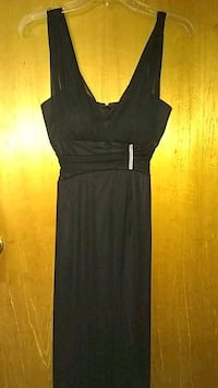 Black long evening dress with rhinestone accents. Tracy, 95376