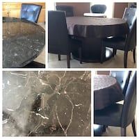 Large round marble kitchen/dining table with chairs Edmonton, T5X 6E2