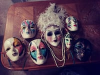 white and multi-colored scarred masks lot