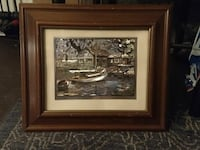 gray wooden boat near house artwork with brown frame Visalia, 93292