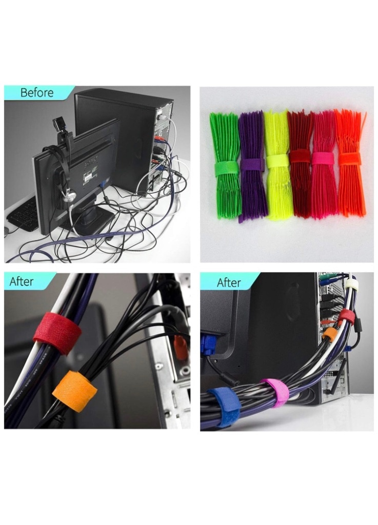 120Pcs Color Fastening Cable Ties Straps Wire Organizer Reusable Cord Management