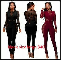 women's two black and one red long-sleeved jumpsuits 717 km