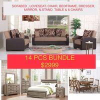 NEW 14 PCS LIVING ROOM, BEDROOM AND DINING ROOM SET Clifton, 07013