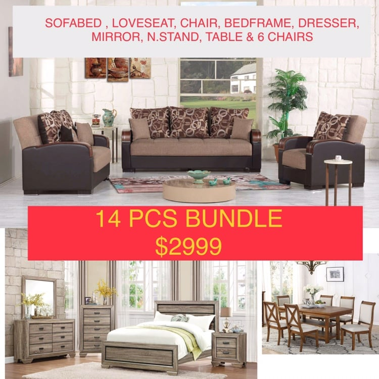 NEW 14 PCS LIVING ROOM, BEDROOM AND DINING ROOM SET
