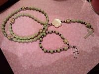Island inspired glass bead rosary set