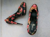 black-and-red floral leather heeled shoes Toronto, M8V