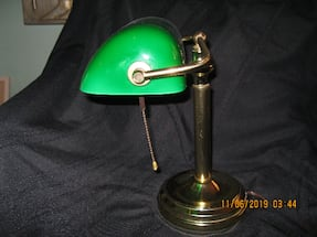 """12"""" H x 10"""" W across shade - Vintage Banker's Lamp"""