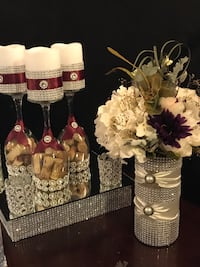 Wedding stuff for sale. Centerpiece based, wine glass centerpieces, various bling vases