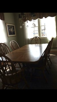 rectangular brown wooden table with six chairs dining set PROVIDENCE