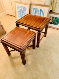 Pair Antique Solid Wood Stacking End Table Set