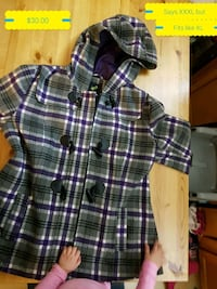 purple, gray, black and white plaid button-up hooded coat Edmonton, T5T 6H6