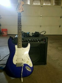 blue and white Squiere Stratocaster electric guitar Lancaster, 93535
